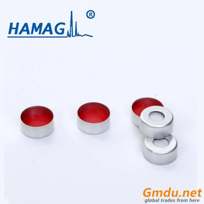 Open-topped aluminum cap and white PTFE/red silicone septa