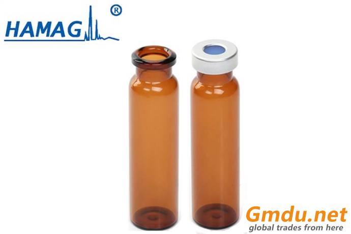 20mm Headspace crimp top 5mL amber vials flat bottom