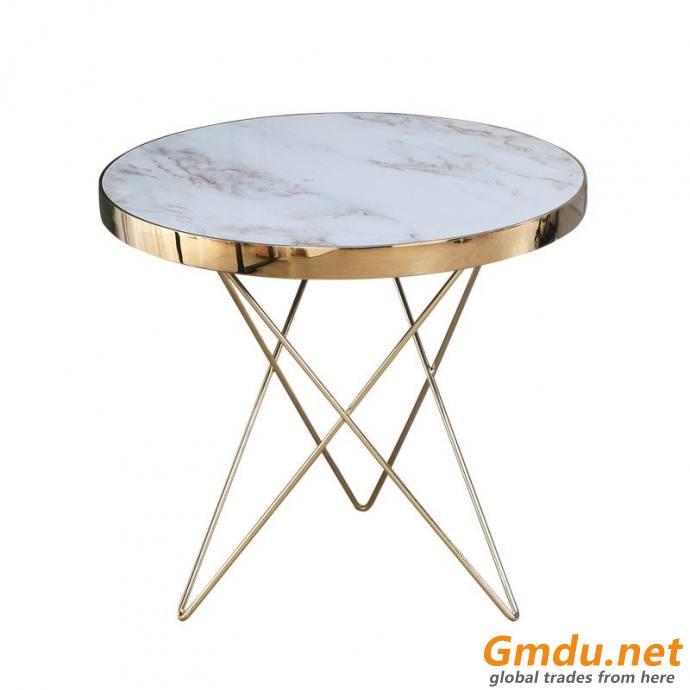 Golden steel shelf coffee table