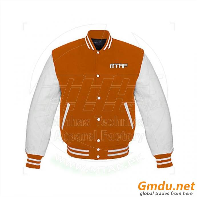Patches Leather Sleeve Varsity Jacket, Fleece Varsity Jacket,