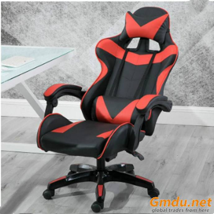 Red headrest footrest gaming chair
