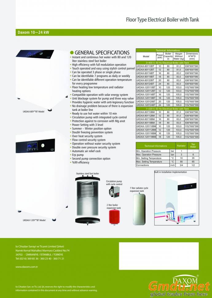 Electric Floor Standing Combi Boiler with 80LT Hot Water Tank