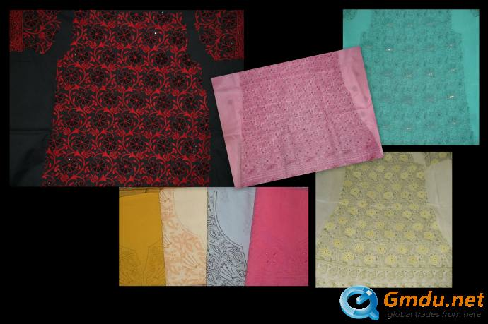 Ladies Ready-to-stitch Dress Materials with Lucknowi Chikan Embr