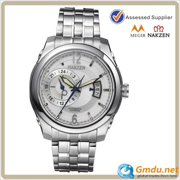 Genuine leather strap mens mechanical automatic watch